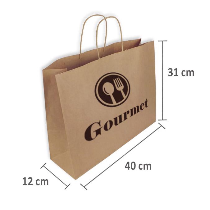 Bolsas de Papel Personalizadas 40+12x31cm