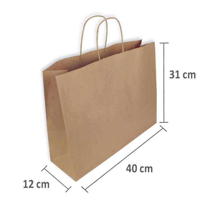 Bolsas Papel Kraft 40+12x31cm