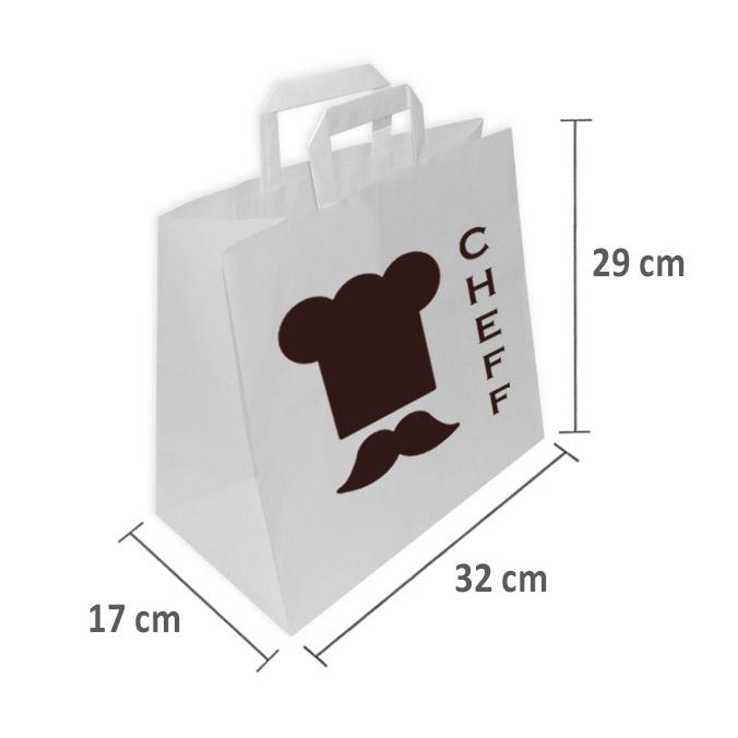 Bolsas de Papel Blancas Personalizadas TAKE AWAY