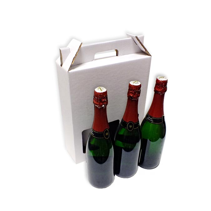 Caja de carton para transporte 3 botellas
