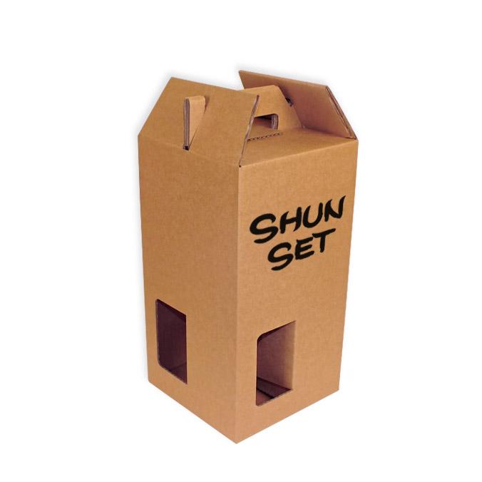 Caja para transporte de 4 botellas con ventanas