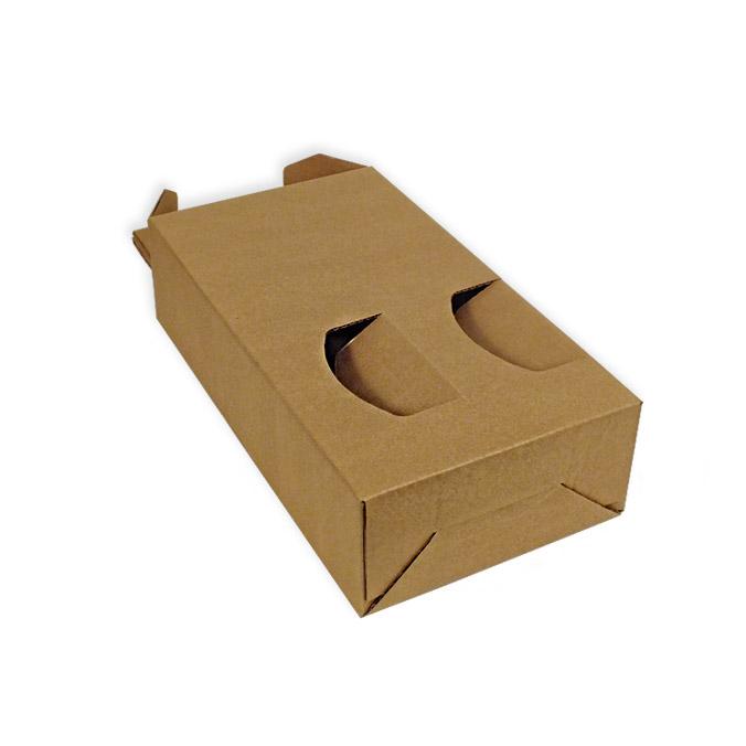 Caja de cartón para 2 botellas con ventanas