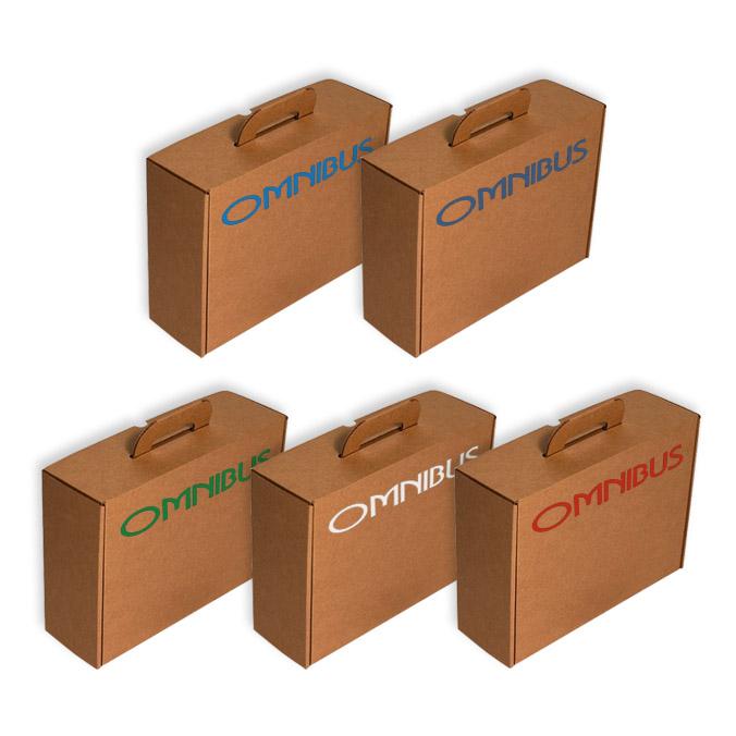 Caja maletín con asa cartón para envíos y transporte.