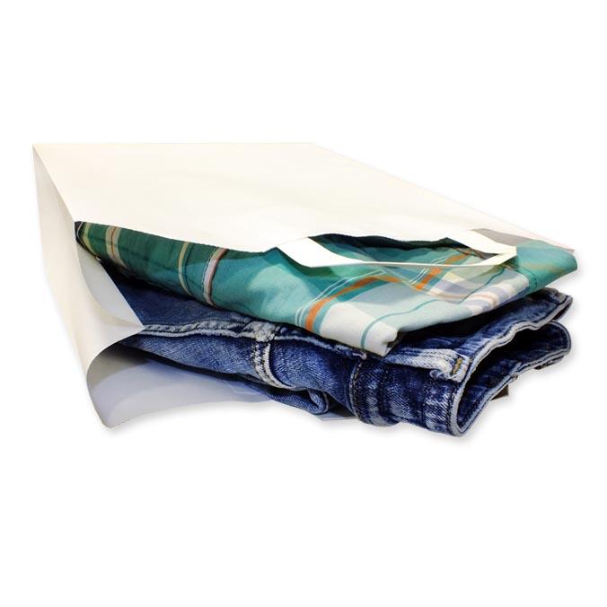 Bolsas de Papel Blancas Asa Plana 32 + 13 x 41 cm