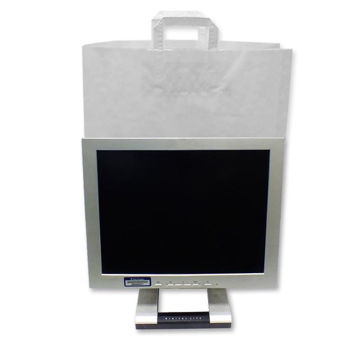 Bolsas de Papel Blancas Asa Plana 45 + 15 x 49 cm