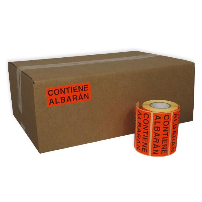Etiqueta adhesiva Contiene Albaran