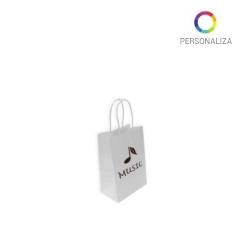 Bolsas de Papel Blancas Personalizadas 14+8,5x21,5cm