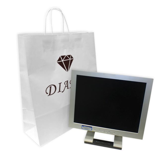 Bolsa de papel blanca con asa rizada personalizada