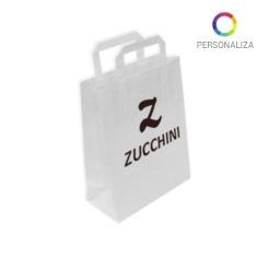 Bolsas de Papel Blancas Personalizadas 32+13x41cm