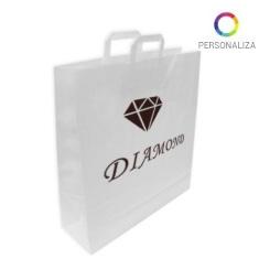 Bolsas papel blancas con asa plana personalizada