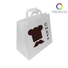 Bolsas de Papel Blancas Personalizadas TAKE AWAY