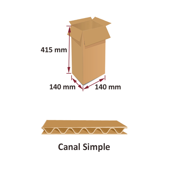 Caja de carton canal simple 140x140x415mm