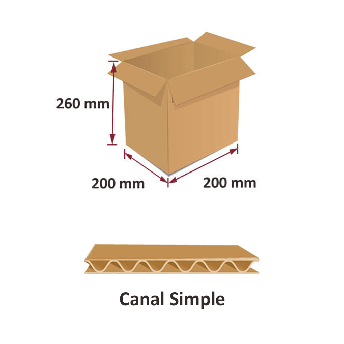 Caja de carton canal simple 200x200x260mm