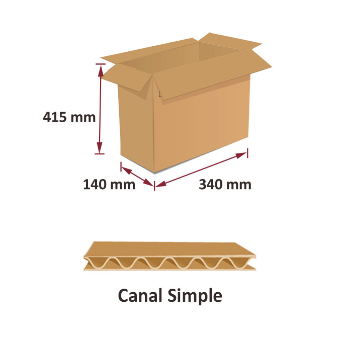 Caja de carton canal simple 340x140x415mm