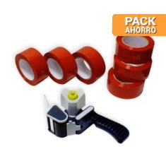 Pack cierra cajas PP 121 m. Cinta Adhesiva Roja