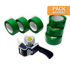 Pack cierra cajas PP 121 m. Cinta Adhesiva Verde