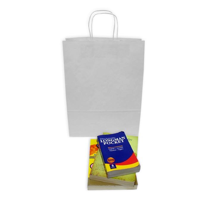 Bolsas de Papel Blancas 32+13x41 cm