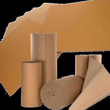 Bobinas y planchas de cartón ondulado.