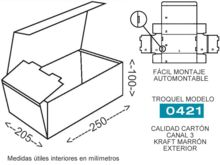 Troquel modelo 0421 caja de carton para envios 250x205x100mm