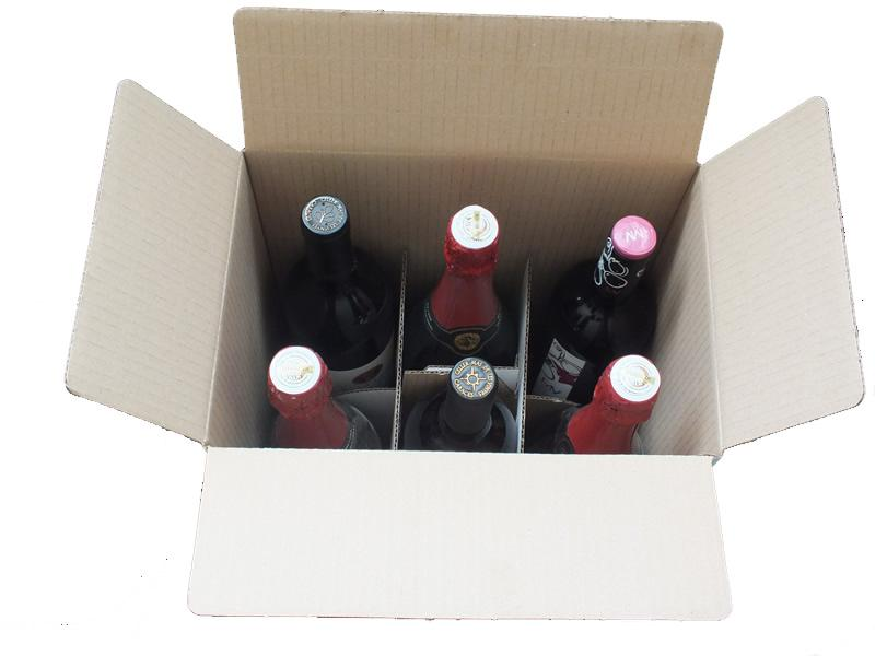 Cajas al por mayor canal simple 6 botellas