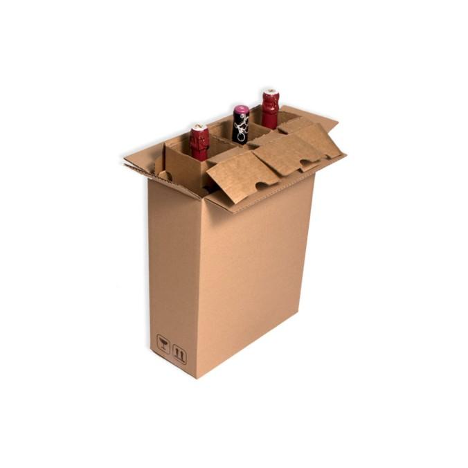 Caja de carton para envio 3 botellas con separadores