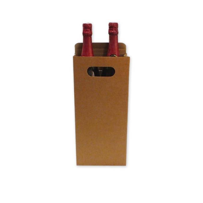 Caja para transporte de 2 botellas con asa