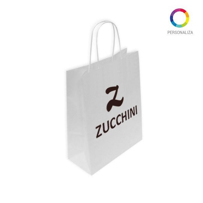 Bolsas de Papel Blanca Personalizadas 32+13x41cm