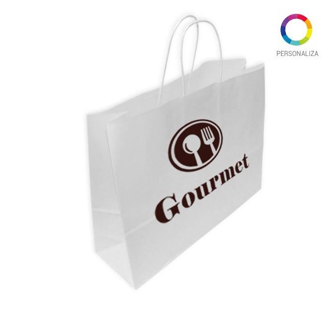 Bolsas de Papel Blancas Personalizadas 40+12x31cm