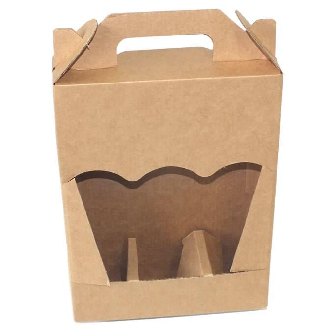 Caja carton transporte 3 botellas 25cl con ventana