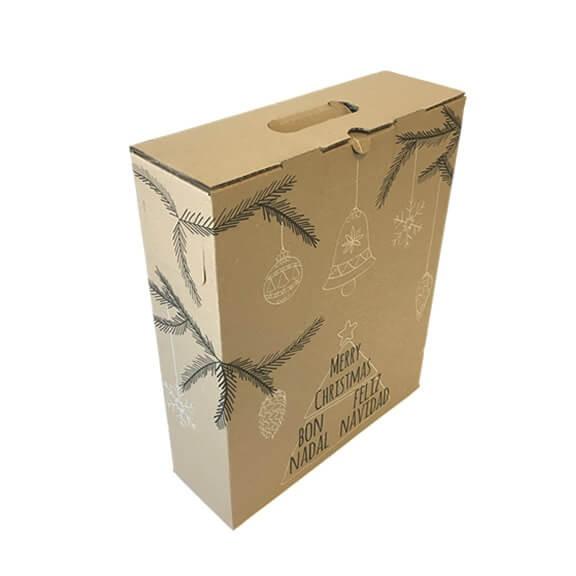 Caja de carton lote Navidad 3 botellas