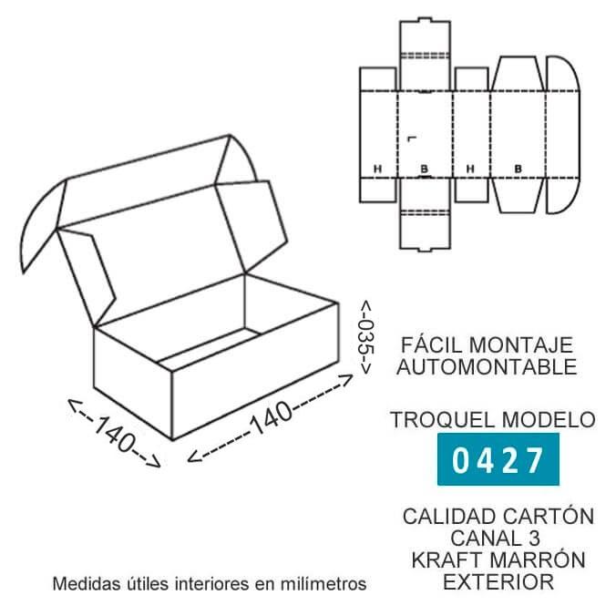 Troquel modelo 0421 caja de cartón para envios 140x140x035mm