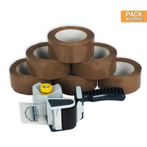 Pack cierra cajas marrón PP 126 m.