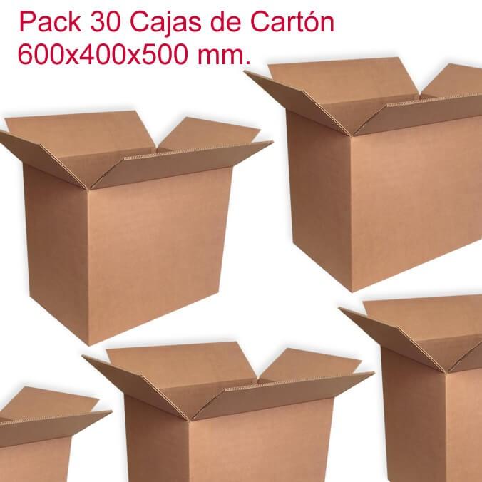 Pack de 30 cajas de cartón de 600x400x500mm