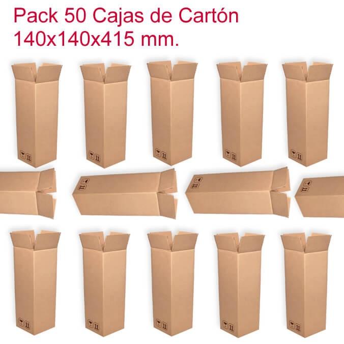 PacK de 50 cajas de cartón de 140x140x415mm