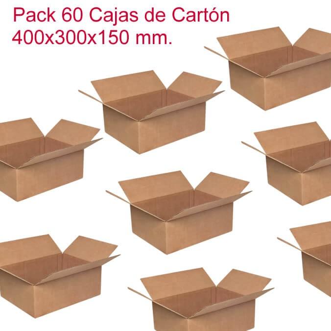 Pack de 60 cajas de cartón de 400x300x150mm