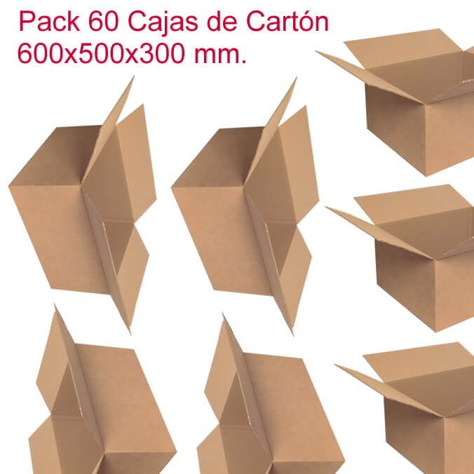 Pack de 60 cajas de cartón de 600x500x300mm