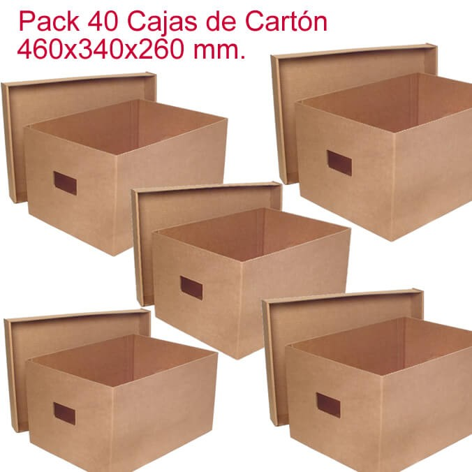 Pack de 40 cajas de cartón de 460x340x260mm