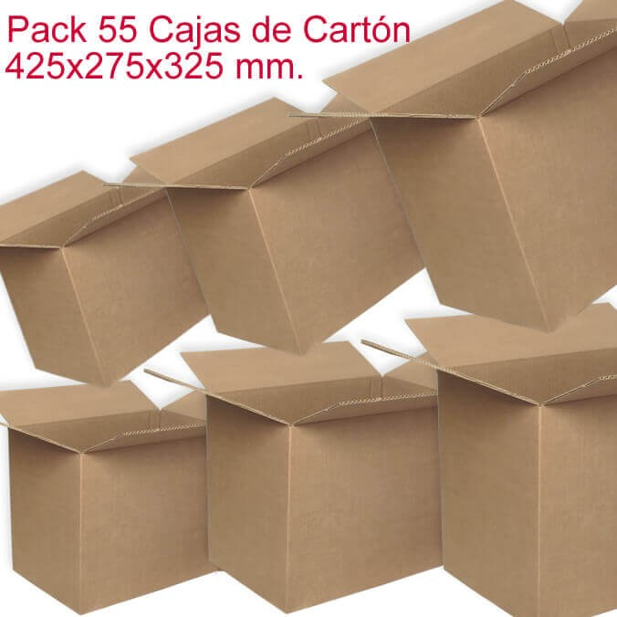 Pack de 55 cajas de cartón de 425x275x325mm