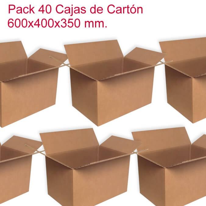 Pack de 40 cajas de cartón de 600x400x350mm