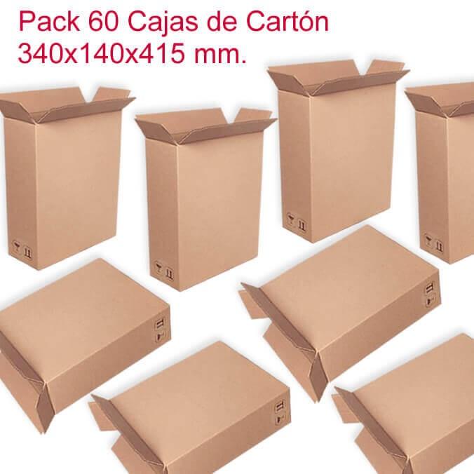 Pack de 60 cajas de cartón de 340x140x415mm