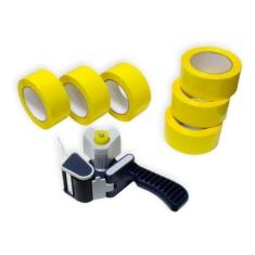 Pack cierra cajas PP 121m. Cinta Adhesiva Amarilla