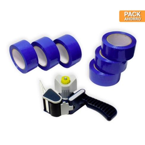 Pack cierra cajas PP 121m. Cinta Adhesiva Azul