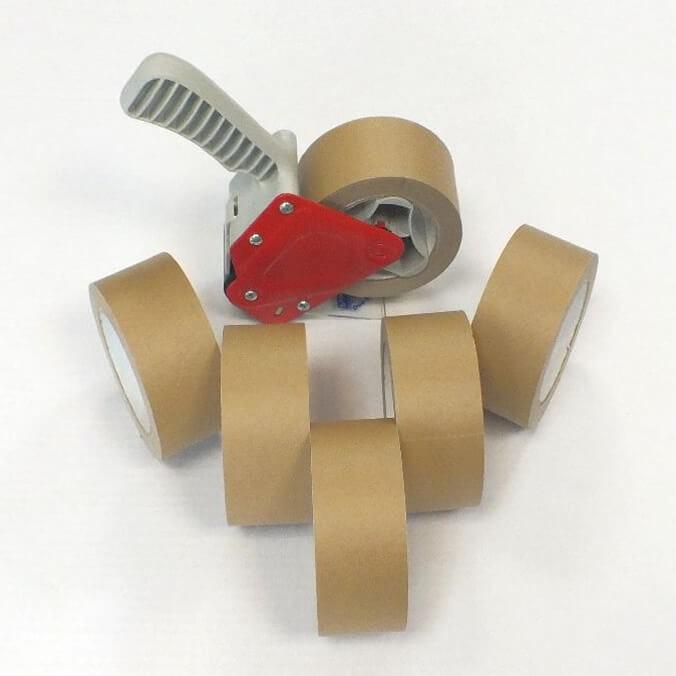 Pack cierra cajas cinta papel kraft 50 m.