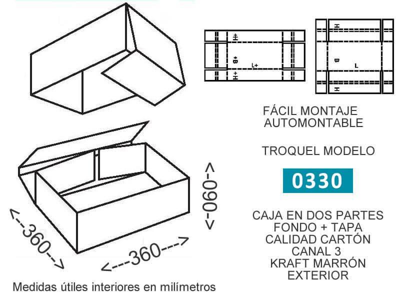 Caja de carton para envios 360x360x090mm