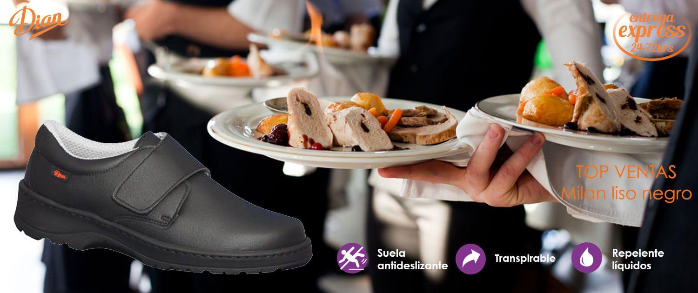 Zapatos anatómicos para hosteleria Dian Milan liso negro. Zapato antideslizante cierre de velcro y piel microfibra técnica transpirable y repelente a líquidos. Lavable en frio y caliente hasta 40º.