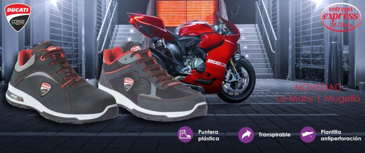 Zapatillas de seguridad deportivas tipo running ESD extremadamente cómodas. Zapatillas que fusionan tecnología y diseño con biomecánica para dar a los zapatos Ducati Corse el mejor rendimiento y asegurar duración y calidad.