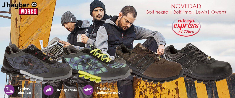 Zapatos de seguridad deportivos J'Hayber muy cómodos, con puntera plástica composite (resistente 200 Julios), Plantilla de protección no metálica, textil tipo Kevlar antiperforación JHAYFLEX. Recomendado para logística, instalaciones y uso general.