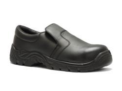 Zapatos de seguridad tipo mocasín sin cordones, diseñados y desarrollados para el confort de los cocineros y cocineras, aunque también es apto para otras profesiones. Está dotado con puntera de protección contra impactos de energía de 200J. Este zapato ha