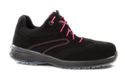 Zapatos d trabajo deportivos para mujer fabricadas en piel serraje de alto poder transpirable. Resistentes a las rozaduras y combinadas con recubrimiento de piel antiarañazos en la zona de talón. Calzado metal free 100% y antiestático ESD clase 3.