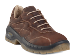 Zapatos de seguridad elegantes. Para la fabricación de este zapato se ha utilizado una piel flor engrasada marrón TOP LEATHER. Su interior están fabricado en tela transpirable. Dispone de una plantilla interior antiestática y transpirable LIGHT & SOFT